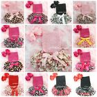 Baby Satin Ruffles Bloomers Red Pink Black White Blue Tube Top Headband 3pc 0-6M