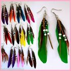 1 Pair Feather Earrings Fashion Jewellery Belly Dancing Bollywood FREE Post AA25