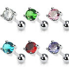 316L Surgical Steel Tragus Stud with 4mm Round CZ 16G