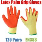 120 Pairs Latex Palm Coated General Grip Work Gloves - PRS