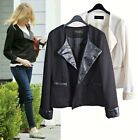 CELEBRITY style Double breasted Cropped leather collar sleeve short jacket