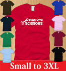 RUNS WITH SCISSORS T-SHIRT Mens S M L XL 2XL 3XL funny old school vintage humor
