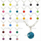 Czech Crystal Rhinestone Disco Clay Ball Shamballa Necklace Pendant 25 Colours