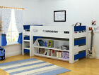 LOLLIPOP KIDS MID SLEEPER WITH BOOKCASE PINK OR BLUE *FREE NEXT DAY DELIVERY