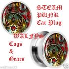 Steam Punk Cogs & Gears Ear Plug 316L Surgical Steal New flesh tunnel taper