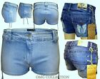 WOMEN'S NEW LADIES EMBROIDERED ANGEL DENIM SHORT MINI HOT PANTS JEANS SIZE 6-16