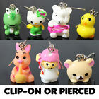 Kids Girls Childrens Drop Earrings - Fun Animal Figures - Clip On or Pierced