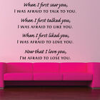 AFRAIDS TO LOVE YOU quote wall sticker bedroom love family wall decal