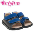 Boys Infant Toddler - Blue / Grey - Leather Squeaky Shoes Sandals - Adjustable!