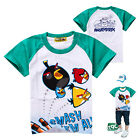 NEW KIDS BOYS SHORT SLEEVE COTTON CARTOON ANGRY BIRDS T-SHIRT  GREEN AGE 2 -8Y