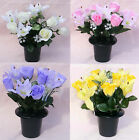 Silk Artificial Flowers Rose Lily Cemetary Pot Memorial Grave Tribute