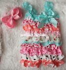 Baby Blue Red Hearts Hot Pink Black Polka Dots Rompers Bow Headband 2pc NB-3Y