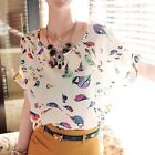 Sexy Girl Women Bird Print Chiffon Blouse Top Batwing Short Sleeve Loose T Shirt