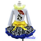 6th Birthday Cowgirl Pettiskirt Red Hat White Long Sleeves Top 2pcs Outfit 1-7Y