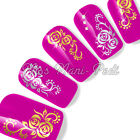 Nail Art Water Transfers Stickers Wraps Decals Gold/Silver Roses Flowers Y028C