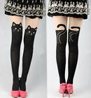 Sexy Women Cat Tail Gipsy Mock Knee High Hosiery Pantyhose Tattoo Tights