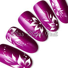 Nail Art Water Decals, Nail Stickers Transfers White Flowers, Tropical Dots Y003