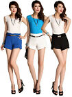 Womens Pure Color High Waist Elegant OL Shorts Summer Casual Hot Pants with Belt