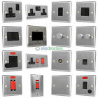 Brushed Chrome Switches and Plug Sockets with Black Inserts - Matching Range