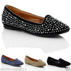 NEW WOMENS LADIES FLAT FAUX SUEDE SPIKE PUMPS BALERINASL SHOES SIZE 3 4 5 6 7 8
