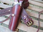 Cartridge Gun Belt Combo - .45 Cal Smooth H - Leather - Wine - Specify Size