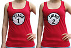 Thing 1 and 2 Distressed Vintage Look Ladies Soft-Style Vest Sm - 2XL Scoop Neck