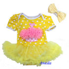 Yellow White Polka Dots Pink Cupcake Bodysuit Romper Pettiskirt Headband 2pcs