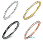 designer stackable rings - .925 STERLING SILVER 1.5MM STACKABLE ETERNITY DESIGN CZ RING W/ STONE SIZES 3-10
