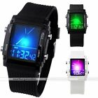 Mens Unisex Square Case Dual Time LCD Backlight Date Alarm Silicone Quartz Watch