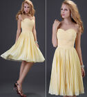 Women Pleated Formal Bridesmaid Evening Party Prom Gown Sweetheart Short Dresses