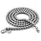 "Real Solid Sterling Silver Classic Bead Chain Necklace 5mm 26""-28"" TN222028"