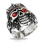 Stainless Steel Pirate Skull King with Red CZs Wide Cast 27mm Ring R551