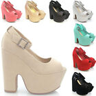 WOMENS PLATFORM DEMI WEDGE HIGH HEEL PEEP TOE LADIES PARTY ANKLE STRAP SHOES 3-8