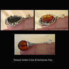 BALTIC HONEY or CHERRY AMBER & SILVER LEAF or FACETED HANDMADE PENDANT