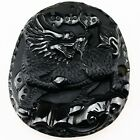 E1367 Carved Obsidian Horse Dragon Boat Fox Pendant Bead