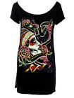 Sullen Angels Top Black Gypsy Butterfly V T Shirt Rockabilly Tattoo Art Tops