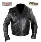 Black  Armored & Vented Premium Naked Leather Motorcycle Biker Jacket Retail$350