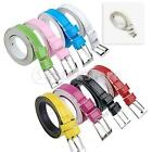 Ladies Girls Skinny PU Leather Thin Belt Pin Buckle Candy Colour for Pick