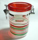 "CASTROL MOTOR OIL Promo FOOD CONTAINER Metal Lock Malaysia 2008 5.75"" Tall"
