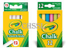 Crayola Anti Dust 12 White Chalk OR 12 Coloured Chalks-Specially for Blackboards