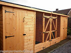HEAVY DUTY 16'X4' FULL HEIGHT WOODEN DOUBLE DOG KENNEL AND RUN + FITTING