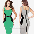 Womens Optical Illusion slimming Stretch bodycon Business Party Pencil Dress