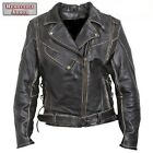 New Womens Antique Rub off  Brown Vented Motorcycle biker scooter Jacket $249