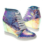 Blue Holographic Round Toe LaceUp High Top Hidden Wedge High Heel Sneaker US5-10
