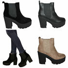 womens new ladies chelsea chunky block heel grip sole style ankle boots size 3-8