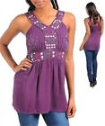 WOMEN'S TANK - PLUM WITH EMBROIDERY & SEQUINS S, M, L