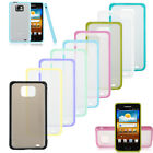 TPU Bumper Frame Matte Frosted Clear Back Hard Case for Samsung Galaxy S2 i9100