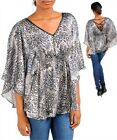 Women's / Junior's Blouse Satin Trim Butterfly Sleeves Smocking in Greys