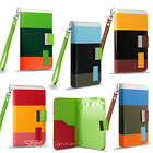 Colour stripe wallet case cover for iPhone 4 4S 5 5S / Samsung Galaxy S4 S3 Mini