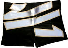 Black w/ Silver w/ Gold Trim Design Biker Style Pro Wrestling Shorts, WWE